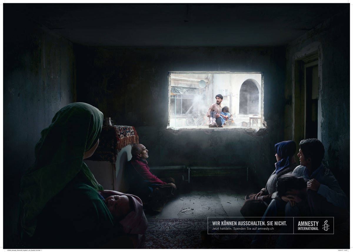 "Weiteres Printmotiv der Amnesty-Kampagne ""You can switch it off"""