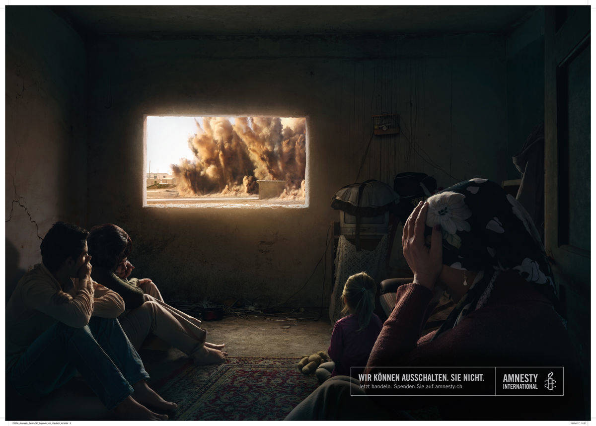 "Noch ein Printmotiv der Amnesty-Kampagne ""You can switch it off"""