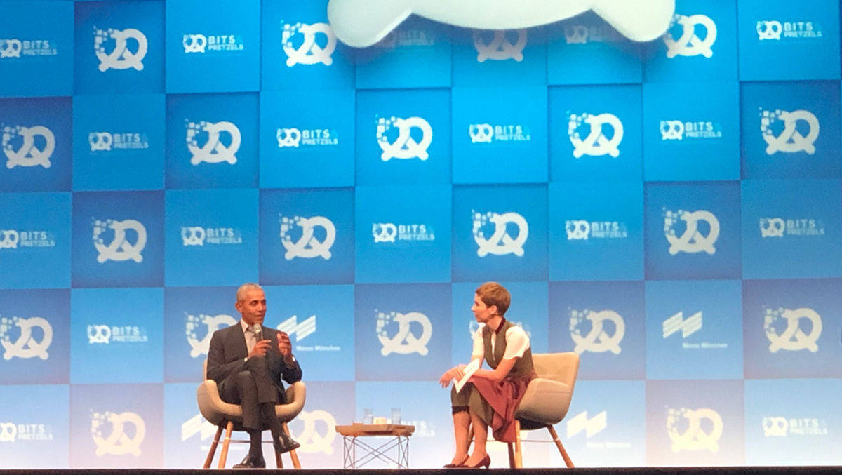 Barack Obama mit Britta Weddeling, Editor in Chief bei Bits and Pretzels
