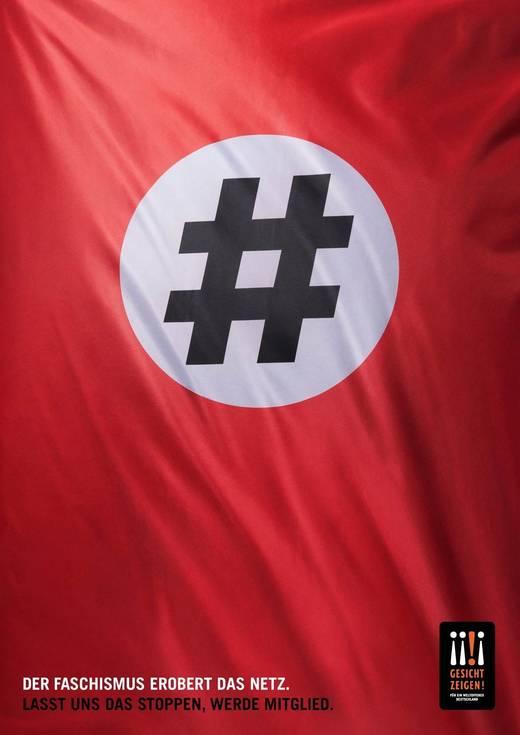 Ein Hastag wie ein hakenkreuz: Gesicht Zeigen sensibilisiert gegen rechte Propaganda im Netz.