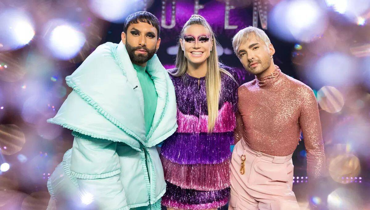 Queen of Drags mit dem Moderationsteam Conchita Wurst, Heidi Klum und Bill Kaulitz