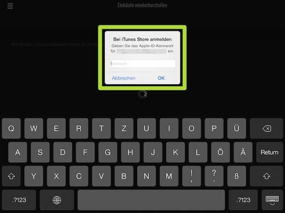 Screenshot Einkäufe wiederherstellen 2