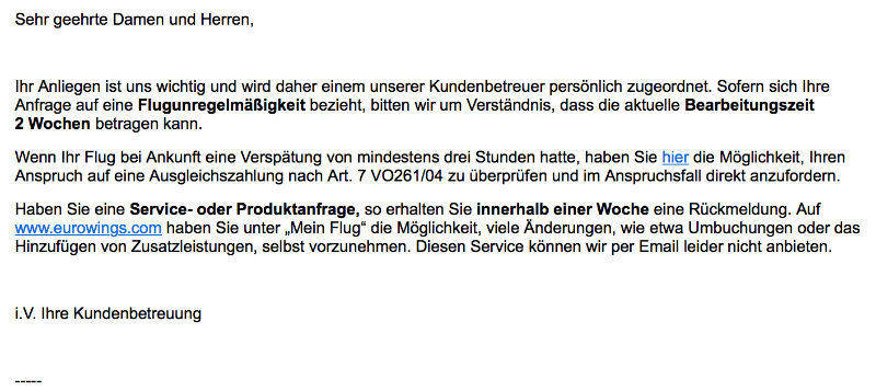 W&V/Screenshot Eurowings-Email
