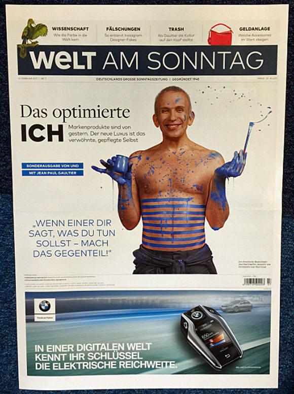 """Eine """"WamS"""" mit und von Gaultier liegt am Sonntag im Handel (Foto: Axel Springer)."""
