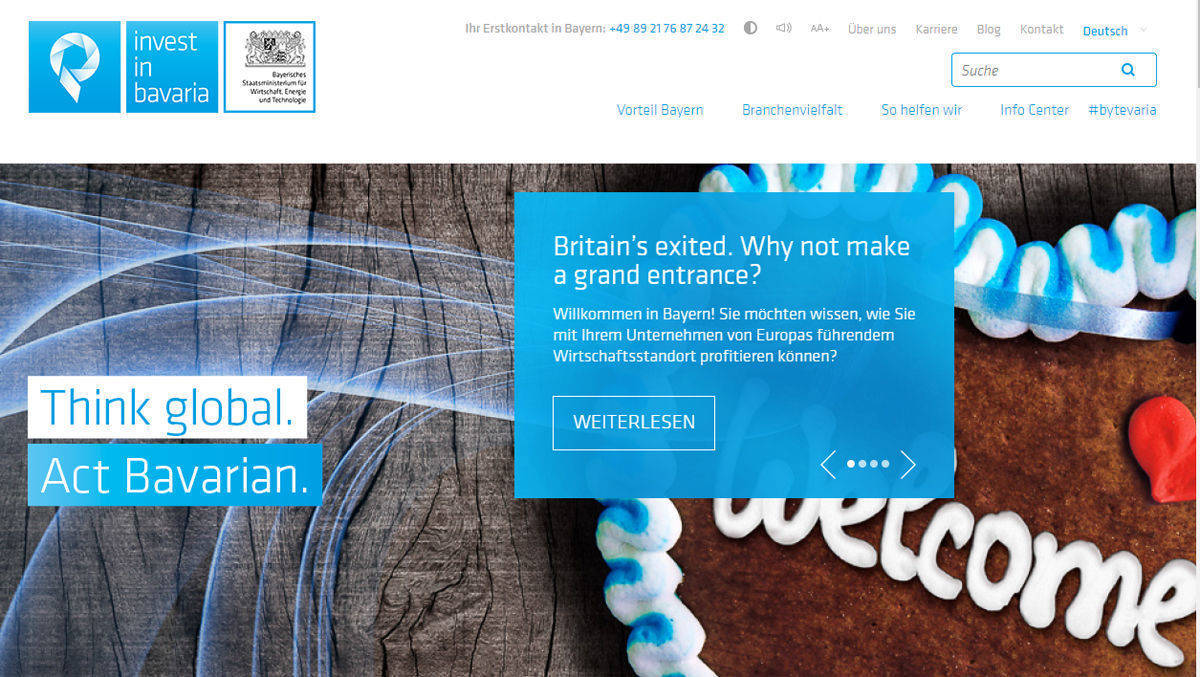 """Think Global. Act Bavarian"": Homepage von Invest in Bavaria."