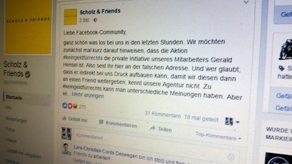 Shitstorm gegen Scholz & Friends