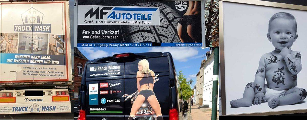 Der Werberat rügt Truck Wash (l.), MF Autoteile (o. M.), Bike Ranch Wismar (u. M.) und House of Pain (r.).
