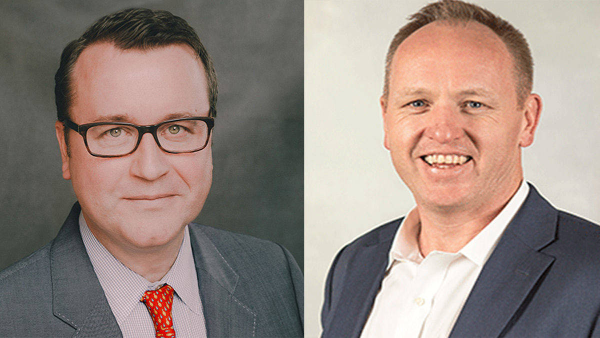 Group M Ceo Kelly Clark (l.), MEC-Ceo Tim Castree, der den neuen Agenturriesen leiten wird.