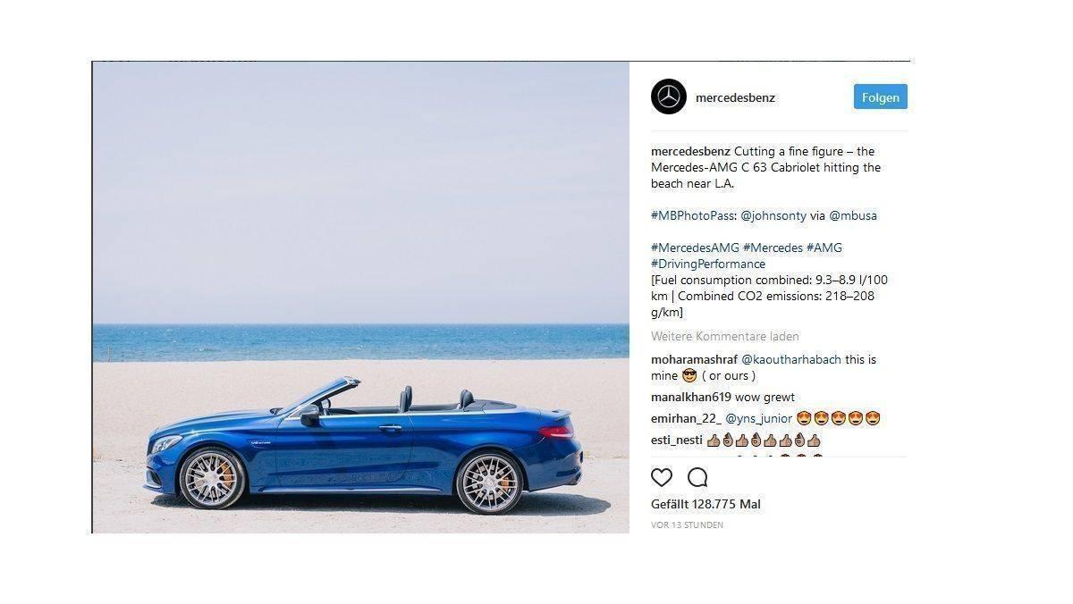Schon früh bei Instagram und auch heute noch sehr aktiv: Mercedes-Benz.