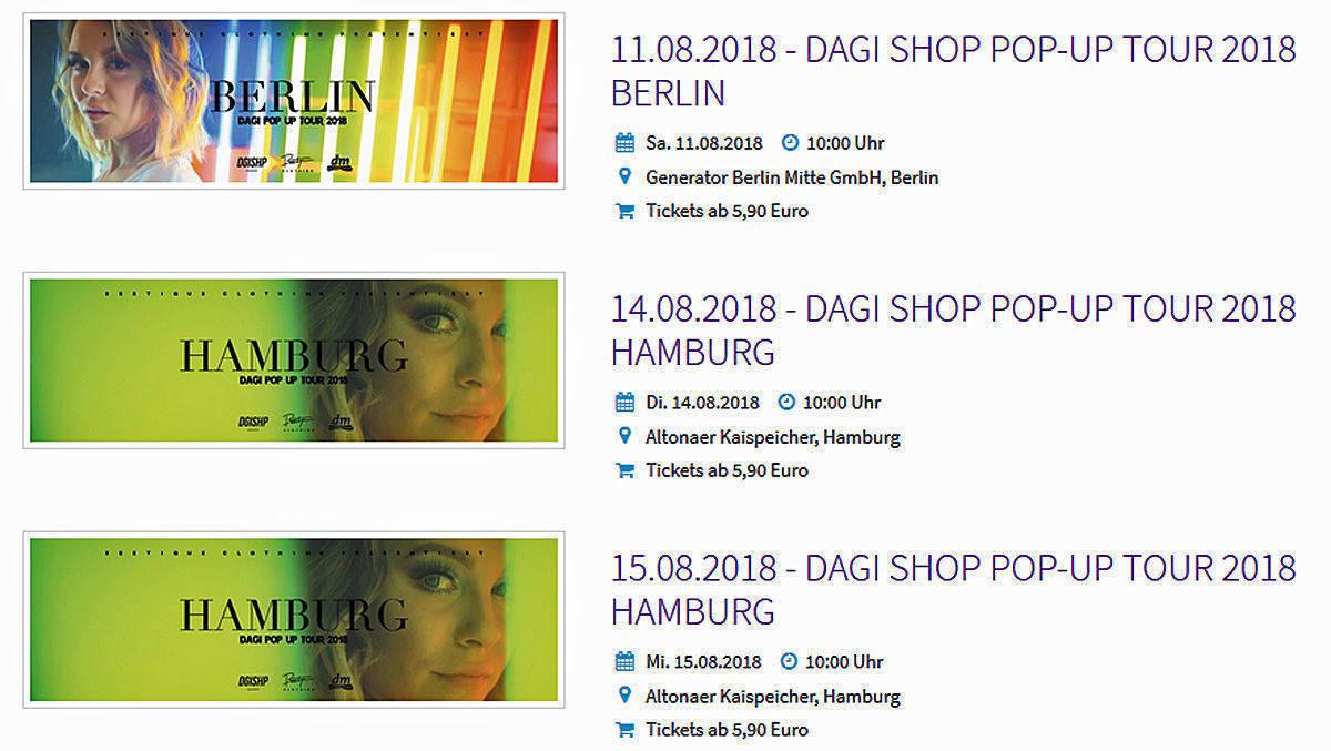 Dagi Bee Macht Mit Zweiter Shop Pop Up Tour Kasse Wv