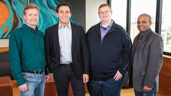 Peter Rander (Argo AI), Ford-CEO Mark Fields, Bryan Salesky (Argo AI) und Ford-Manager Raj Nair. (v.l.)