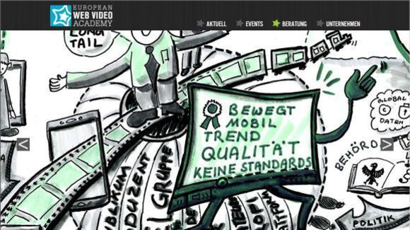 Screenshot der Website der European Web Video Academy