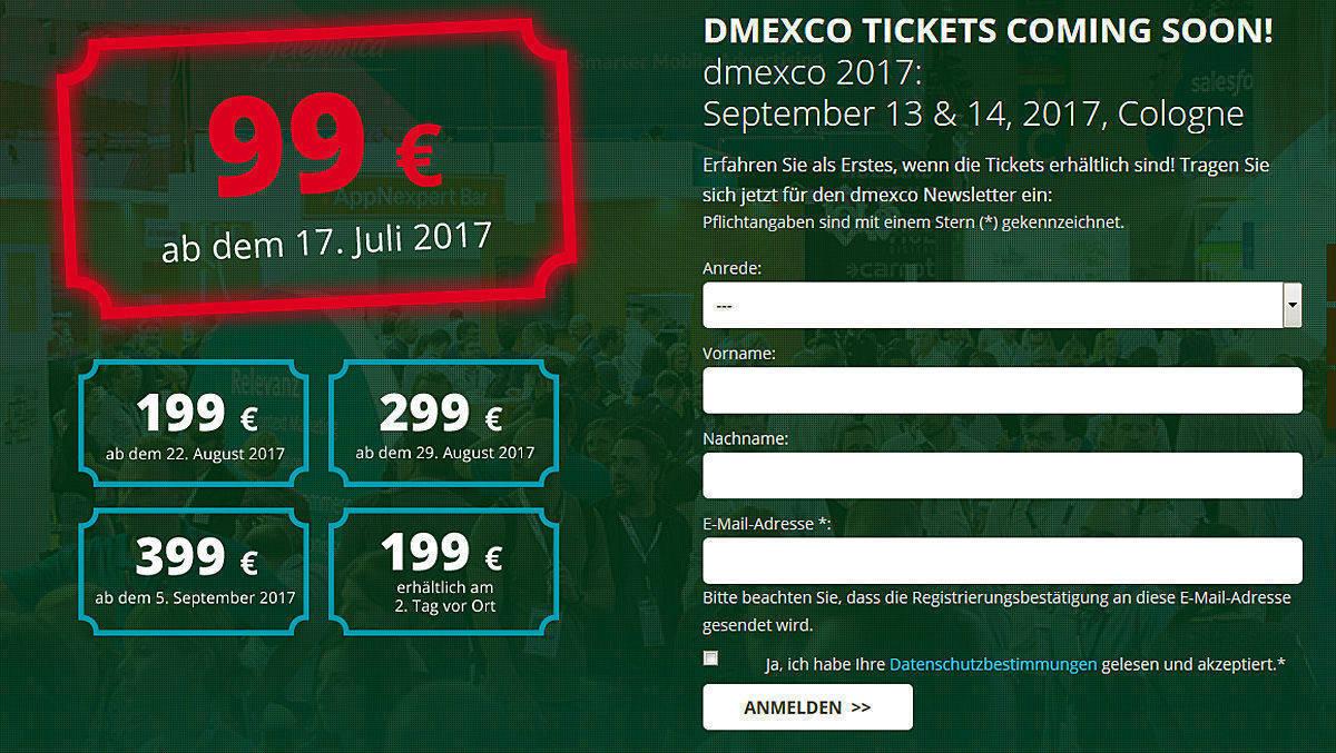 Aus Für Kostenlose Dmexco Tickets Wv