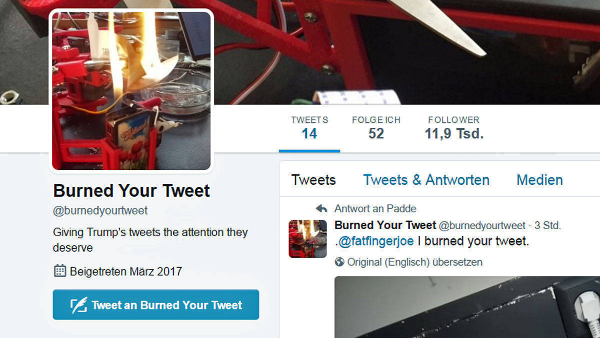 @burnedyourtweet verbrennt Donald Trumps Tweets.