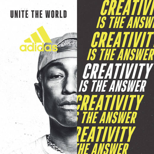 Adidas-Motiv mit Pharrell Williams.