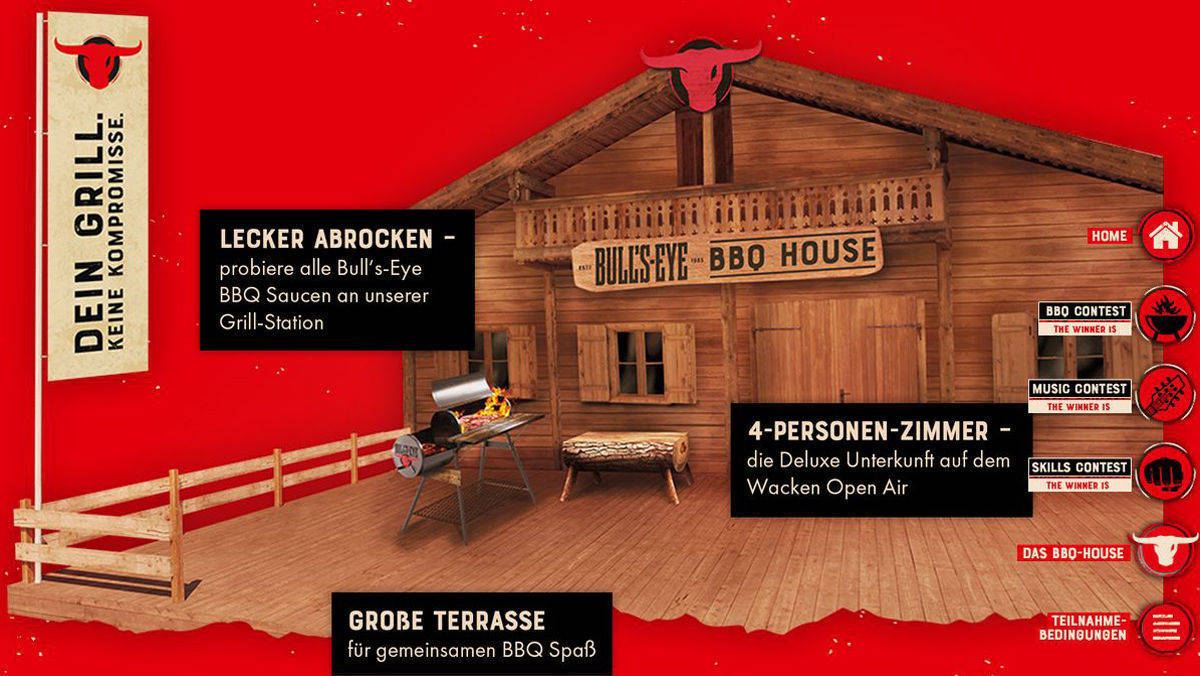Auf Wacken: Megacult promotet Bull's-Eye-Saucen im BBQ-House.