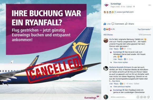 Eurowings provoziert Ryanair W&V