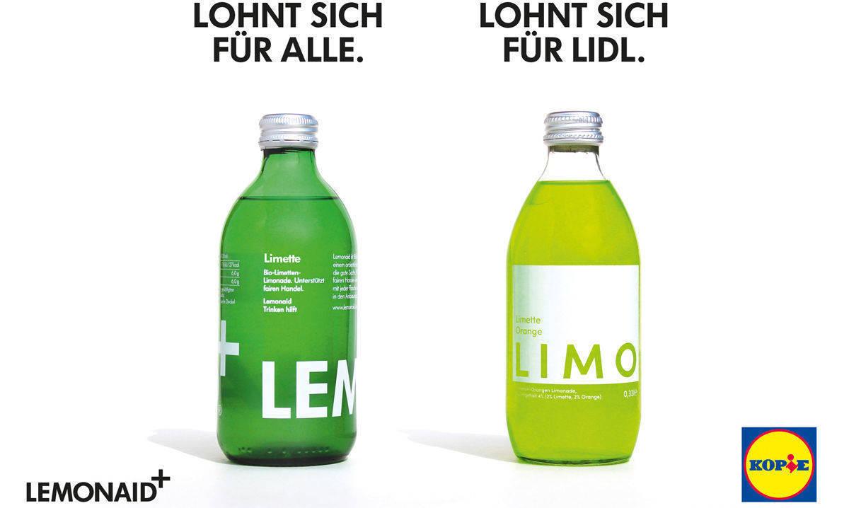 Handel: Limo-Hersteller Lemonaid greift Lidl wegen Brause-Kopie an