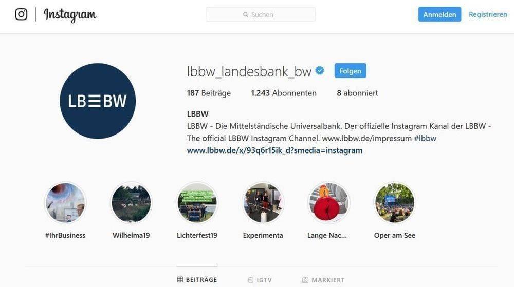 Der Instagram-Auftritt von LBBW berzeugte Mashup Communications am meisten