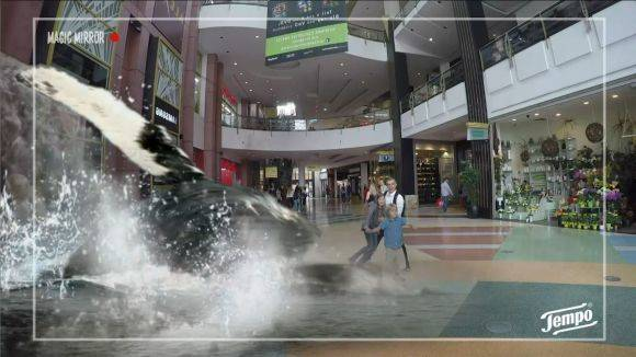 "Augmented Reality Kampagne im Alexa Shoppingcenter Berlin zum Launch von ""Tempo fresh to go""."