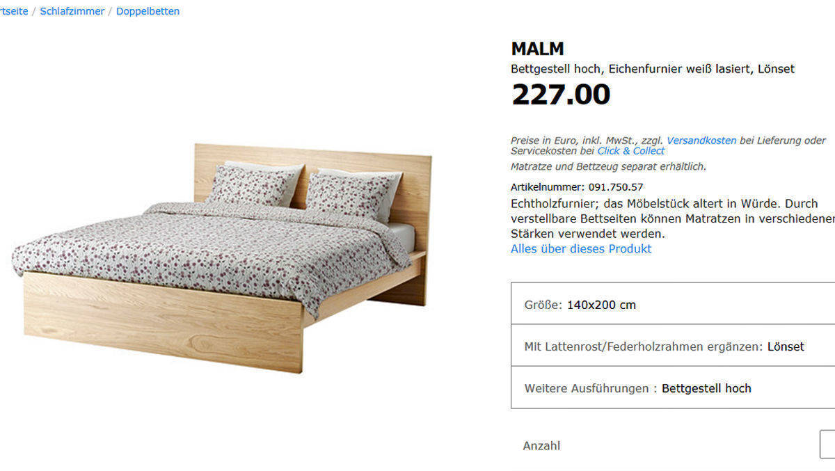 malm bett designer streitet sich mit ikea w v. Black Bedroom Furniture Sets. Home Design Ideas