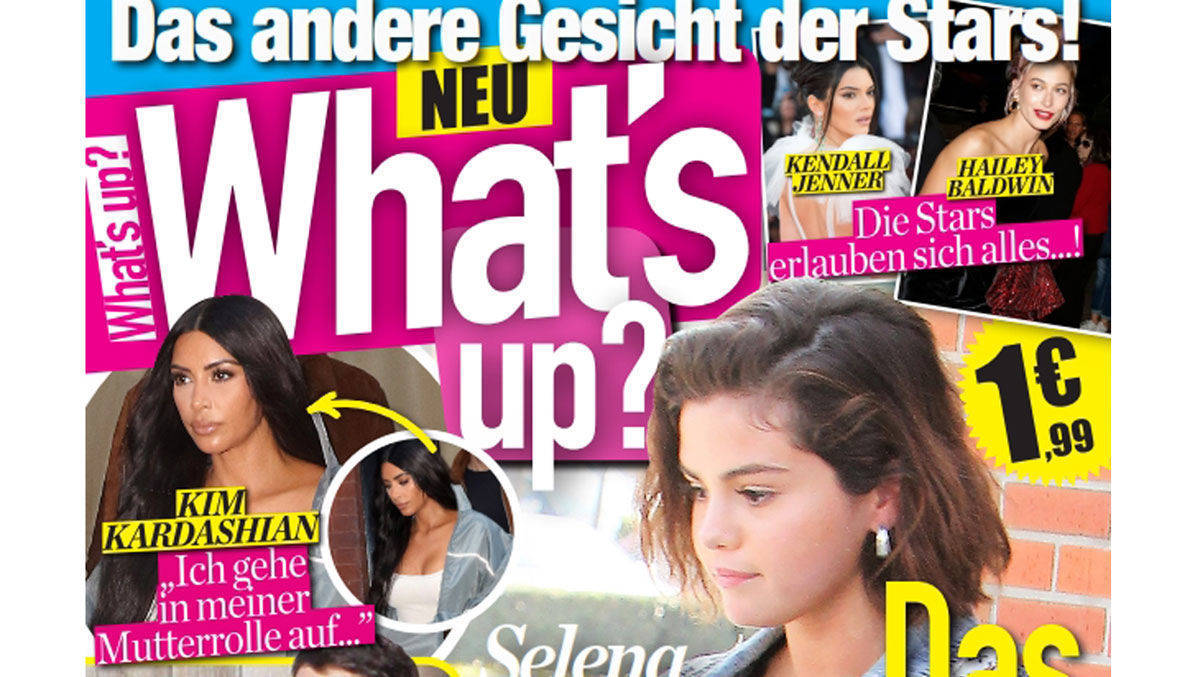 Cover der Erstausgabe des internationalen Peoplemagazins What's Up auf Deutsch (Ausschnitt).