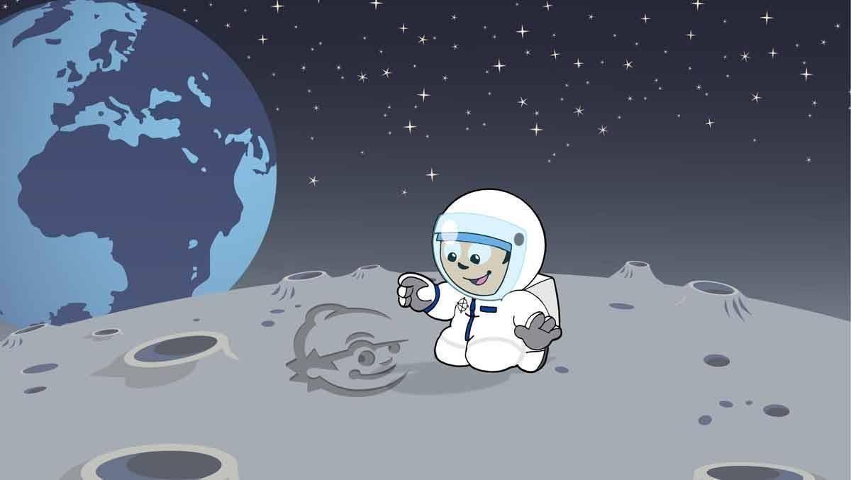 Mainzelmännchen auf dem Mond