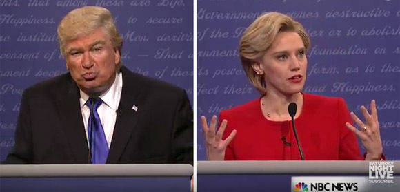 "Die Trump-Clinton-Parodie bei ""Saturday Night Live"". Kate McKinnon spielt Hillary, Alec Baldwin als Donald."