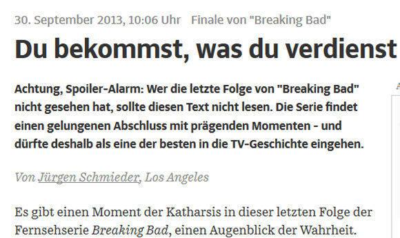 """Bis hierher und nicht weiter konnte man lesen, wenn man """"Breaking Bad"""" nicht nicht zu Ende geschaut hatte. (SZ.de)"""