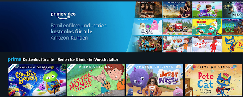 Viele Familieninhalte bietet Amazon Prime Video for free.