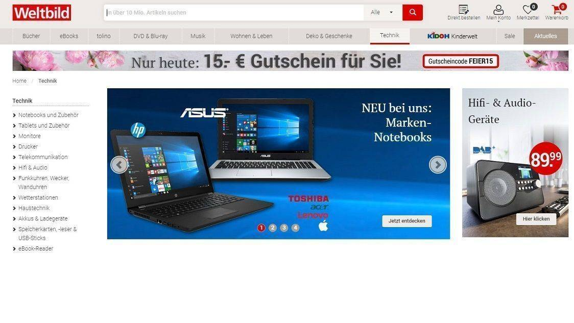 Screenshot aus Onlineshop