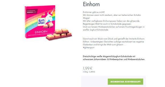 Ritter Sport Feiert Riesenerfolg Mit Einhorn Schokolade Wv